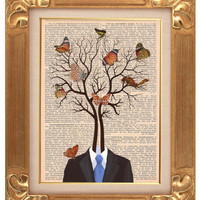 Tree and butterflies - ORIGINAL ARTWORK - HAND Painted - Mixed Media on  vintage magazine