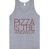 Pizza is the answer-Unisex Athletic Grey Tank