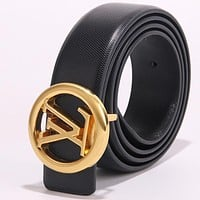 Louis Vuitton LV Newest Trending Girls Boys Circular Buckle Leather Belt Black