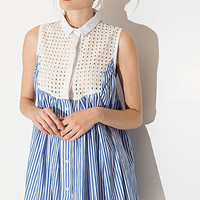 White Closed Neck Dress with Blue Striped Skirt