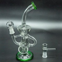 Double Recycler Glass Bong Heady Oil Rigs Bongs Unique Dab Rigs Water Pipes Colored Bubbler Waterpipes 8.5'' 14mm Joint