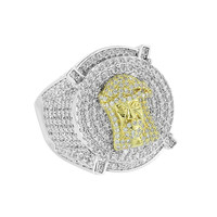 Custom Full Iced Out Ring Jesus Face Simulated Diamonds 2 Tone Rapper Wear Hip Hop Prong Set