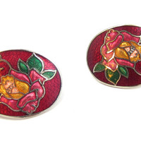 Vintage Red Floral Cloisonne Earrings Blue Pink Butterfly Silver Tone Flower Metal Vintage Jewelry Enamel Chinese Asian Post Earrings