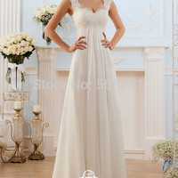 vestidos de novia baratos A-Line Cheap-wedding-dress Made in China Lace Chiffon Beach Wedding Dress Floor Length Robe de mariage