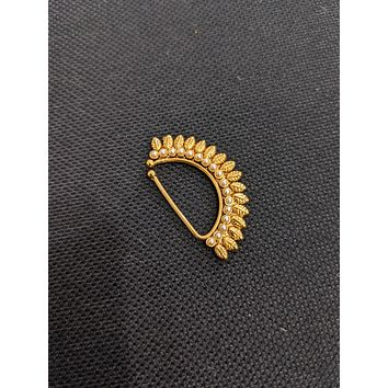 Spike design pearl pasted gold plated Indian Nose Pin