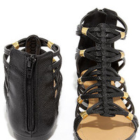 Coliseum Black Gladiator Sandals
