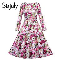 Sisjuly vintage dress autumn retro floral print 1950s style elegant o neck party long sleeve pink vintage dresses 2017 new