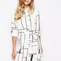 River Island Graphic Check Shirt Dress
