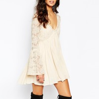 Free People With Love From India Lace Dress With Bell Sleeves in Cream