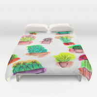 Colored Cactus Duvet Cover by Yuval Ozery