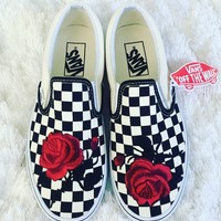 Vans Classics Checkerboard Slip-On Big Red Rose Sneaker