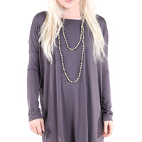 PIKO 1988 Long Sleeve Tunic Dress - Dark Grey