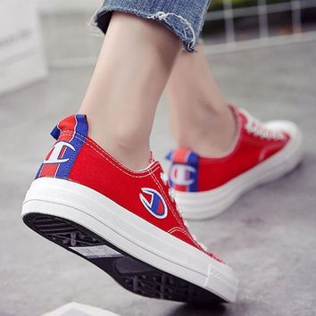 Champion Canvas flat shoes sports shoes red Tagre™