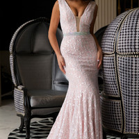 Pink Lace Sleeveless Prom Dress 22917
