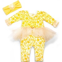 Disney by Tutu Couture Belle Skirted Romper & Headband Set (Baby Girls) | Nordstrom