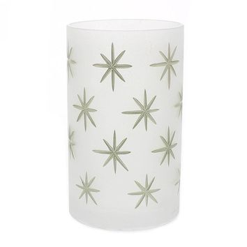 Frosted Glass Gold Star Hurricane - Large