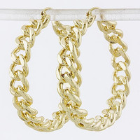 GOLD CHAINED HOOP EARRINGS