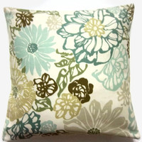 Decorative Pillow Cover Teal Mint Green Olive Green Brown  Modern Floral Handmade Toss Throw Accent Cover 18 inch