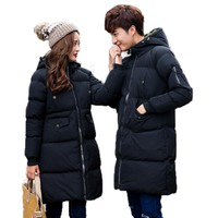 2017 New Lover Matching Wadded Jacket Men Parka Long Warm Thick Padded Coats Men Loose Hooded Unisex Jacket 75wy