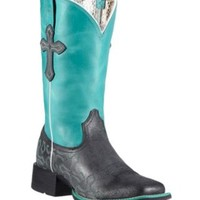 Ariat® Crossroads™ Women's Anthracite Black w/Blue Top & Crosses Double Welt Square Toe Western Boots