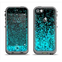 The Black and Turquoise Unfocused Sparkle Print Apple iPhone 5c LifeProof Fre Case Skin Set