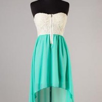 Summer Memories Lace Strapless Sweetheart High Low Dress in Seafoam | Sincerely Sweet Boutique
