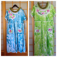 Hand Painted - Maxi Dress Hawaiian - Plus Size - Long Cotton Dress - Hand Painted Maxi - Cotton Maxi Dress - Kauai Hawaii Dress