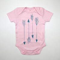 Arrows Organic Baby Bodysuit in Pink
