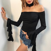 Women Solid Color Fashion Simple Frills Stitching Pagoda Sleeve Long Sleeve Off Shoulder T-shirt Short Tops