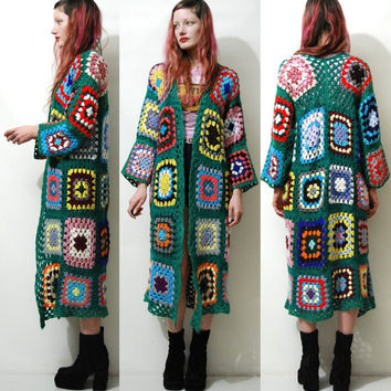CROCHET Granny Square Jacket Sweater HANDMADE Green Long Cardigan Knit Wool Bohemian Hippie Gypsy 70s Vintage Woodstock Rainbow XS S M L