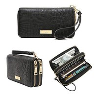 Aitbags Womens Double Zip Around Wallet Clutch Organizer with Wristlet Strap
