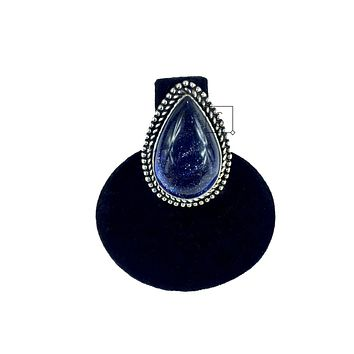 Blue Goldstone Teardrop Ring O.O.A.K.