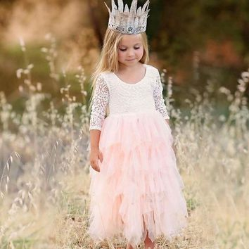 Girl's Summer Long Sleeve Cake Dress Wedding Flower Girl Dress Birthday Princess Costume Formal Party Clothing