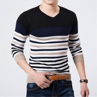 European And American Classic Men's Sweaters Embroidered Round Neck Sweater Men Slim Male Sweaters Cashmere Sweater