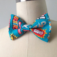 Pre-Tied Comic Action Words Bowtie, gift for men
