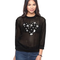 Pitch Black Grid Guipure Lace Top by Juicy Couture,