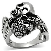 Stainless Steel 'Day of the Dead' Skull Ring