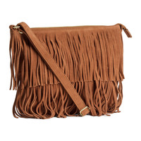 H&M - Suede Bag with Fringe - Brown - Ladies