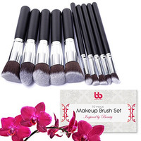 Professional Makeup Brushes, 10 Piece Set, Vegan, with Plastic Handles, Great for Applying Concealers, Foundations, & Powders, By Beauty Bon