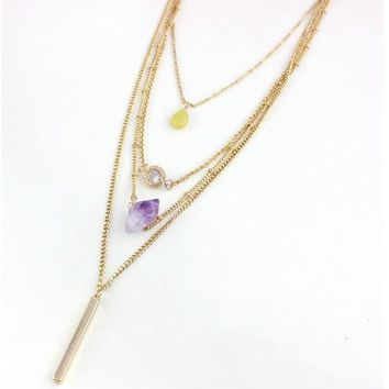 Beady Triple Layer Natural Amethyst Necklace - Gold and Amethyst
