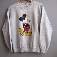Vintage Mickey Mouse Cotton Blend Raglan Sleeve Gray Sweatshirt USA Soft S M