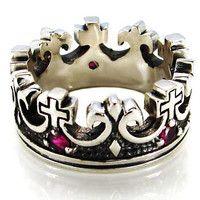 Sterling Silver Oxidized Kings Crown Men's Ring - Stunning  Sizes 7 to 12e