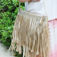 Funky Fringe Leather Crossbody in Gold