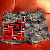 "SALE SIZE 0 ""7 For All Mankind"" Arkansas Razorback Shorts"