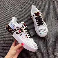 Dolce & Gabbana D&g Printed Calfskin Nappa Portofino Sneakers With Patch And Embroidery - Best Online Sale