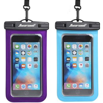 """Hiearcool Universal Waterproof Case,Waterproof Phone Pouch Compatible for iPhone 11 Pro Max XS Max XR X 8 7 6S Plus Samsung Galaxy s10/s9 Google Pixel 2 HTC Up to 7.0"""",IPX8 Cellphone Dry Bag -2 Pack Blue&Purple"""