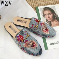 New Mules Shoes Handmade Women Summer Satin Flower Embroider Slippers Ladies Round Toe Comfortable Flat Heel Vintage Mules C27