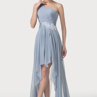 Gray One Shoulder Lace High-Low Assymetrical Prom Dresses