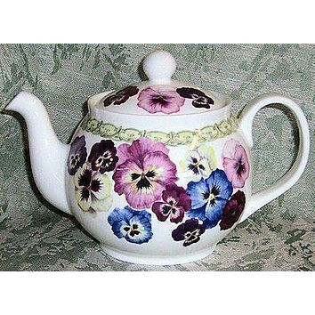6 Cup Special Pansy English Bone China Teapot By Roy Kirkham
