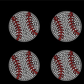 Baseballs - 4 small baseballs iron on hot fix rhinestone bling transfer - DIY motif design appliqué for shirts t shirts tees - custom hotfix